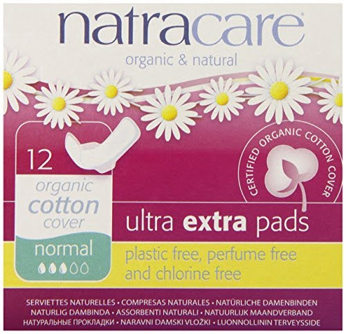 Absorbante Ultra Extra de noapte (3 picaturi) normal, naturale bumbac organic 12 buc Natracare
