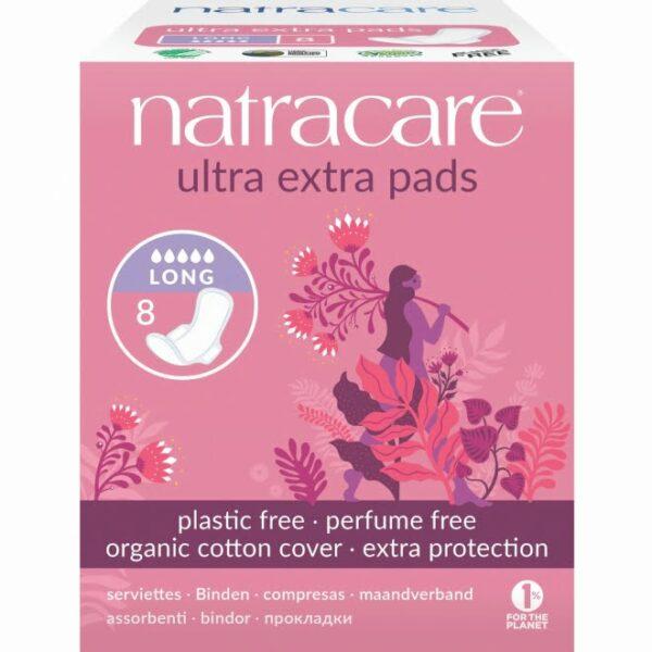 Absorbante Ultra Extra de noapte (5 picături) lung, naturale bumbac organic 8 buc Natracare