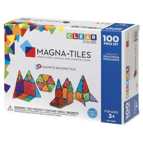 Magna-Tiles Set 100 piese magnetice de constructie transparente colorate
