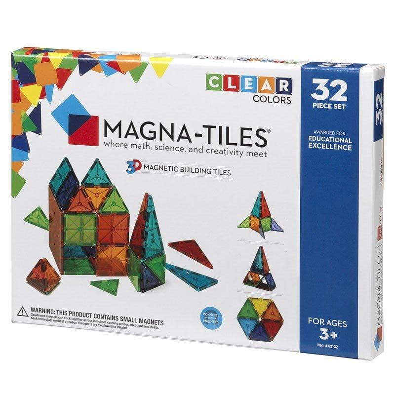 Magna-Tiles Set 32 piese magnetice de constructie transparente colorate ok