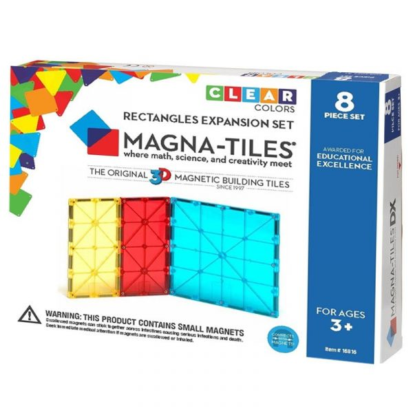 Magna-Tiles Set de extindere - 8 dreptunghiuri magnetice de constructie transparente colorate