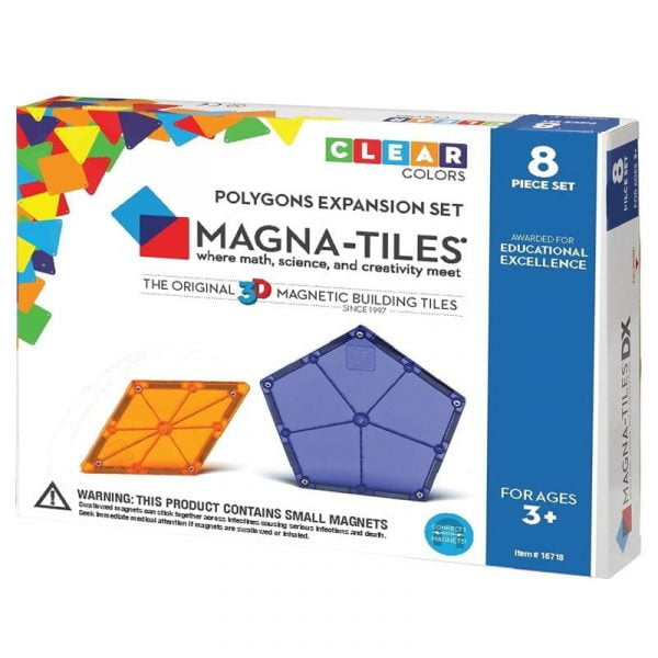Magna-Tiles Set de extindere - 8 poligoane magnetice de constructie transparente colorate
