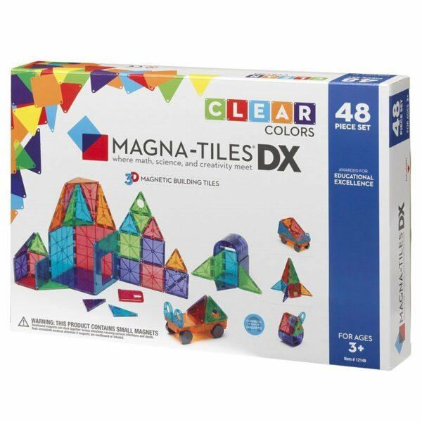 Magna-Tiles Set deluxe 48 piese magnetice de constructie transparente colorate