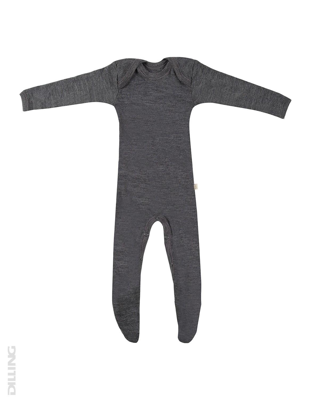 Salopetă – pijama overall gri închis din lână merinos organică pentru bebeluși Dilling