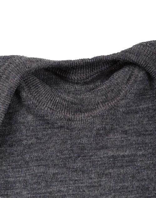 Body cu maneca lunga gri inchis din lana merinos organica pentru bebelusi Dilling 3