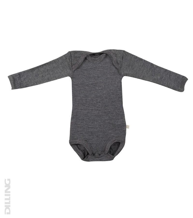 Body cu maneca lunga gri inchis din lana merinos organica pentru bebelusi Dilling