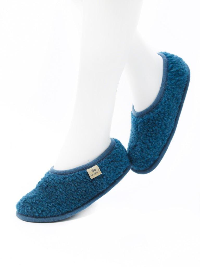 Papuci de casa lana cu talpa aniderapanta azure Ballerinas Alwero