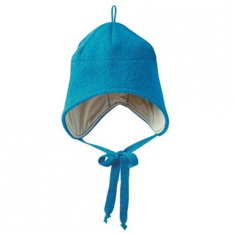 Căciulă din lână merinos boiled wool blue Disana