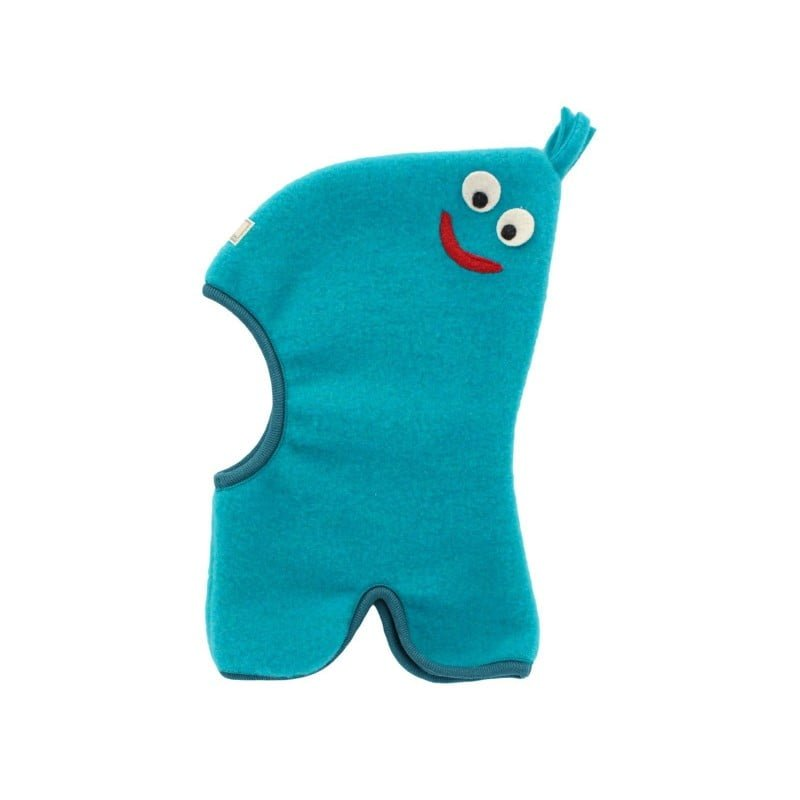 Cagula din lana merinos fleece organica albastru Pickapooh Smile
