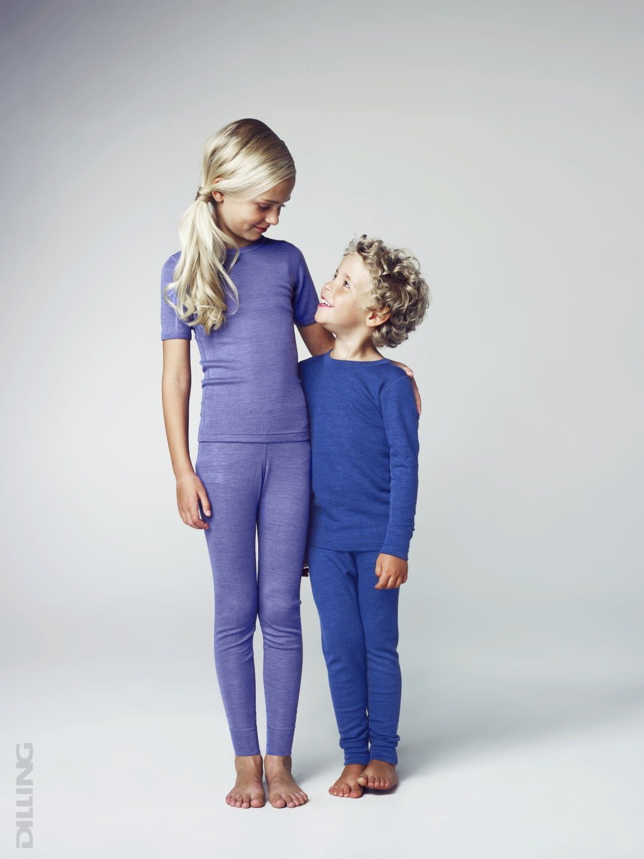 Bluza cu maneca lunga albastru din lana merinos si matase organica pentru copii Dilling 2