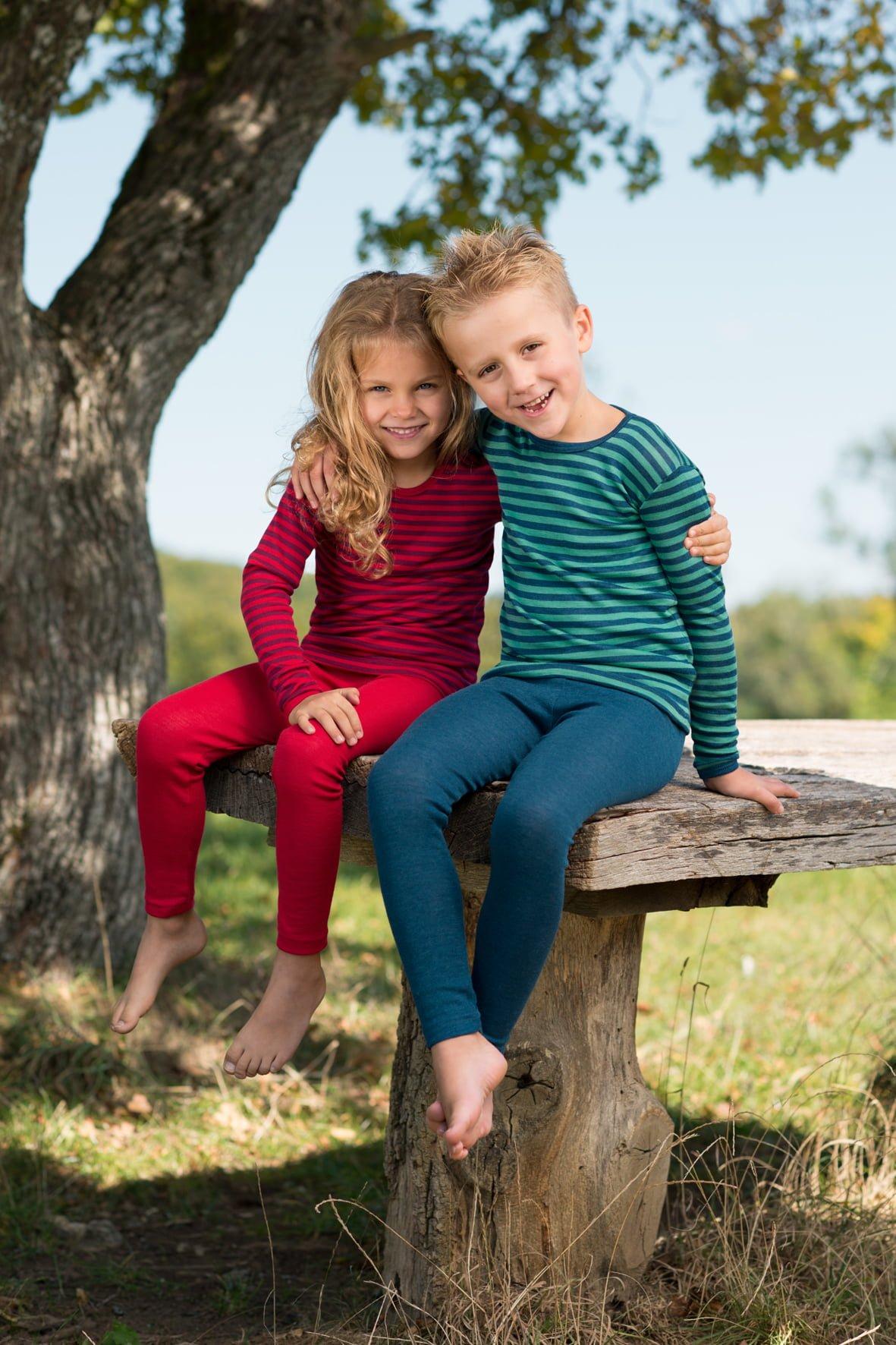 Pantaloni colanţi light ocean din lână merinos şi mătase organică pentru copii Engel 1