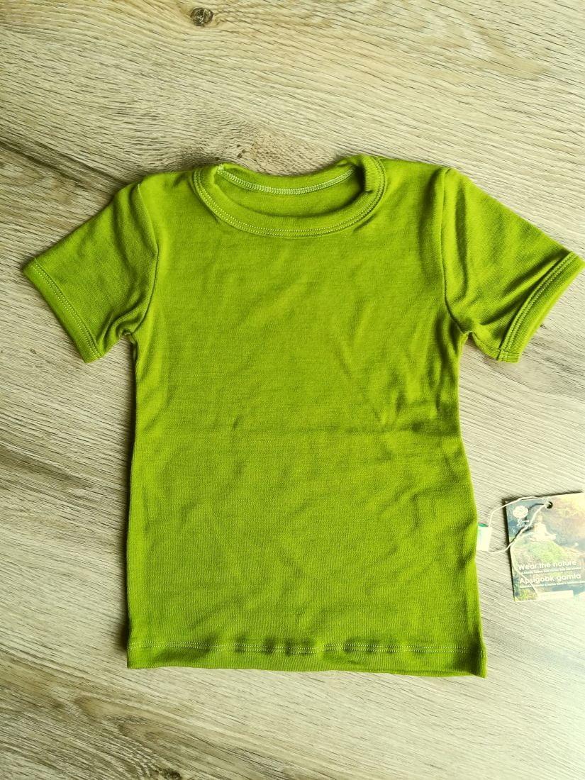 Tricou cu maneca scurta green moss din lana merinos organica pentru copii Green Rose