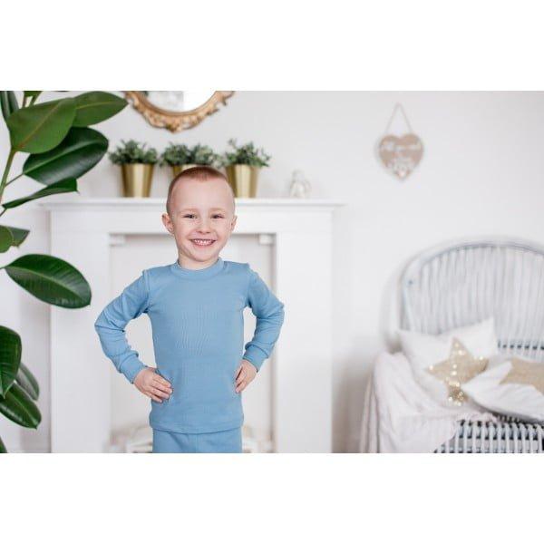 Bluză cu mânecă lungă din lână merinos organică pentru copii light blue Green Rose