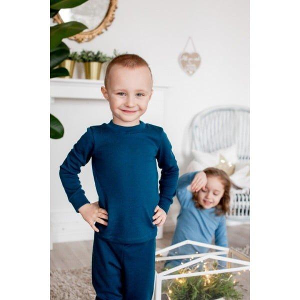 Bluză cu mânecă lungă petrol blue din lână merinos organică pentru copii Green Rose 3
