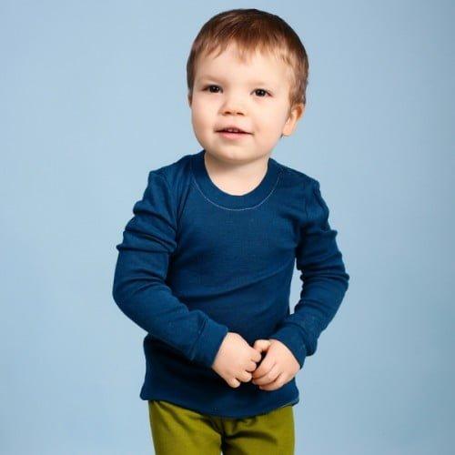 Bluza cu maneca lunga baby blue din lana merinos organica pentru copii Green Rose 1