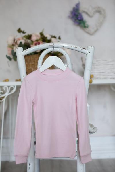 Bluza cu maneca lunga baby pink din lana merinos organica pentru copii Green Rose