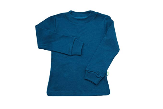 Bluza cu maneca lunga petrol blue din lana merinos organica pentru copii Green Rose