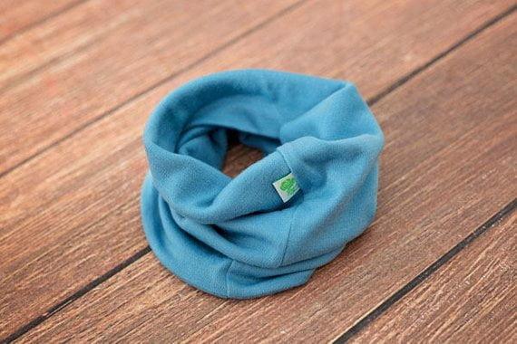 Buff uni în strat dublu baby blue din lana merinos organica pentru copii Green Rose