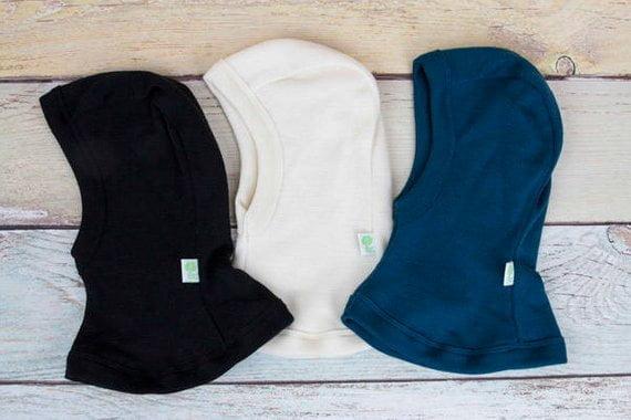 Cagula uni in strat dublu petrol blue din lana merinos organica pentru copii Green Rose