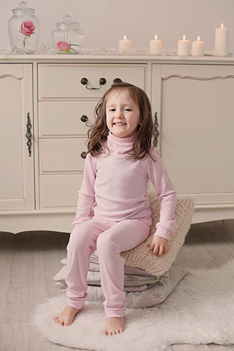 Helanc baby pink din lana merinos organica pentru copii Green Rose 2