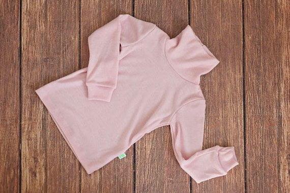 Helanca baby pink din lana merinos organica pentru copii Green Rose