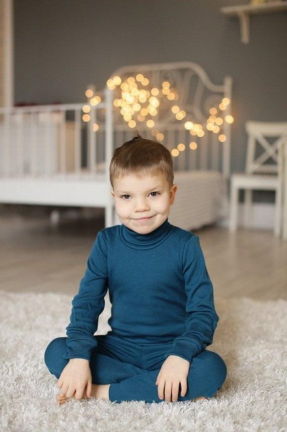 Pantaloni colanţi petrol blue din lână merinos organică pentru copii Green Rose 1