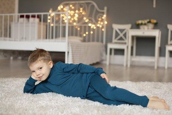 Pantaloni colanţi petrol blue din lână merinos organică pentru copii Green Rose