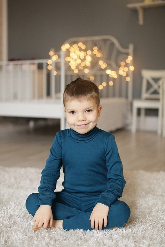 Pantaloni colanti baby blue din lana merinos organica pentru copii Green Rose 2