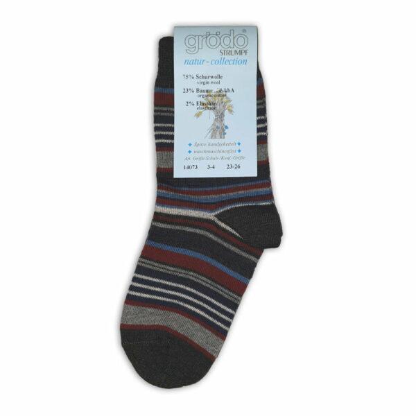 Şosete şi fine din lână şi bumbac organic gri antracit cu dungi pentru adulţi Grodo