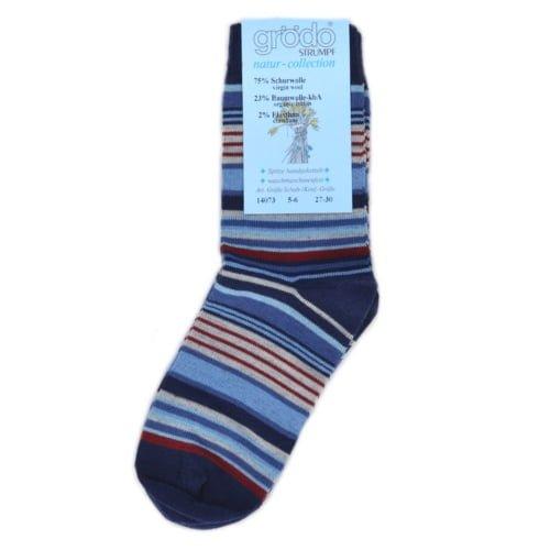 Şosete şi fine din lână şi bumbac organic navy cu dungi pentru adulţi Grodo