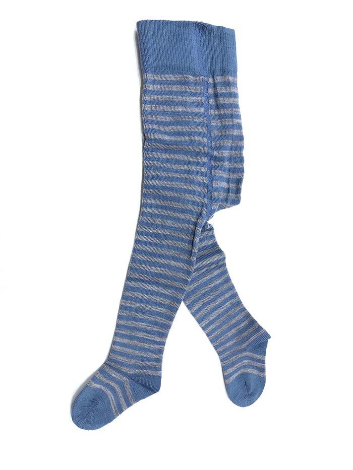 Dresuri fine cu dungi din lână şi bumbac organic albastri cu dungi gri pentru copii Grodo