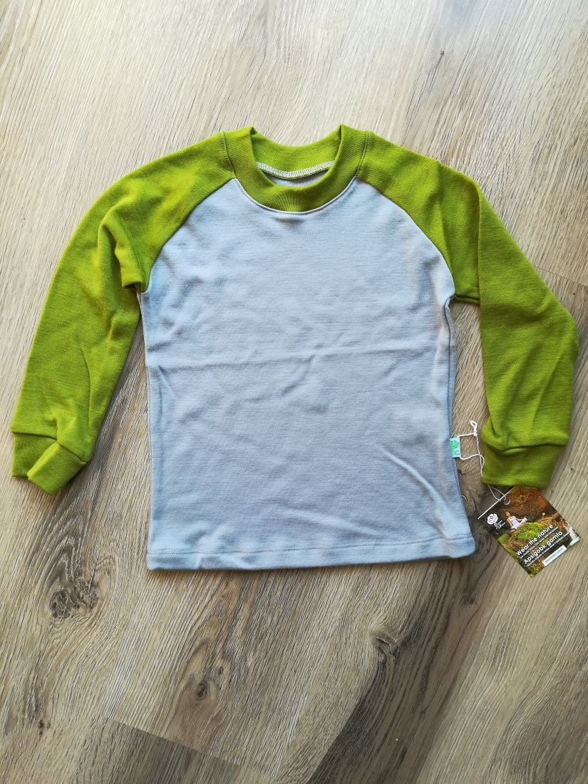 Bluza cu maneca lunga gray - green moss din lana merinos organica pentru copii Green Rose