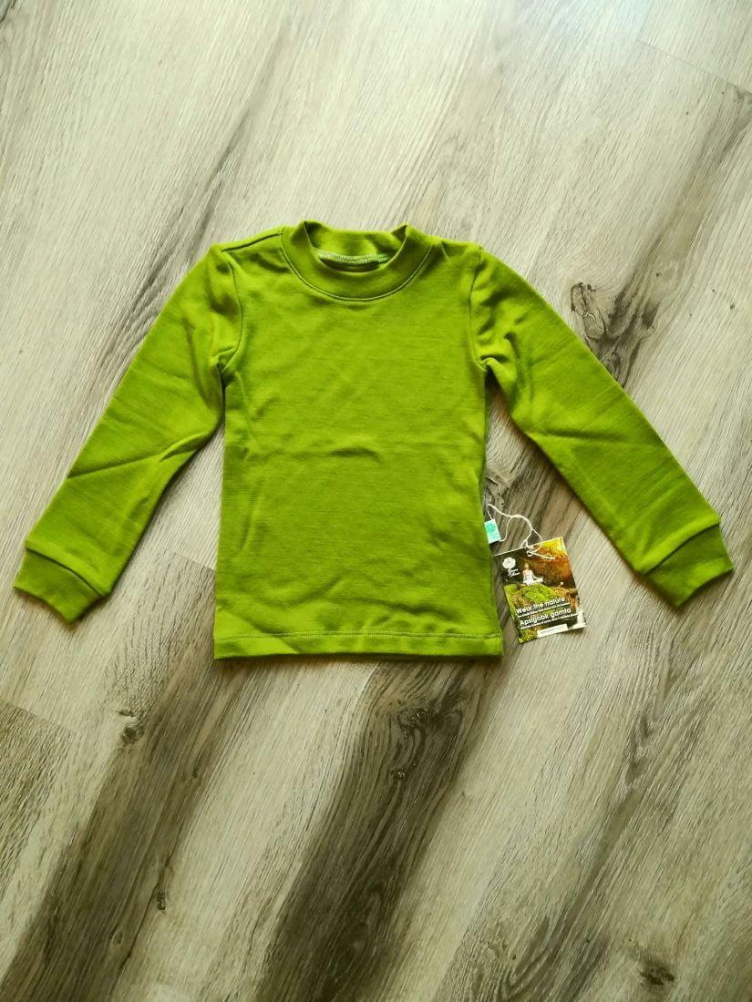 Bluza cu maneca lunga green moss din lana merinos organica pentru copii Green Rose