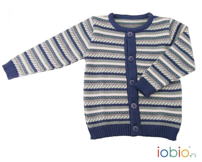 Cardigan din lana merinos organica tricotata vintage blue Iobio Popolini