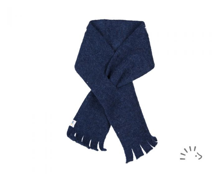 Fular gros din lana merinos organică fleece dark blue Iobio Popolini