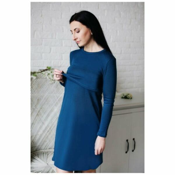 Rochie pentru alaptare din lana merinos organica pentru femei Green Rose 2