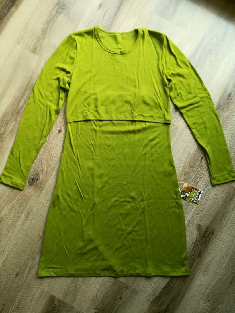 Rochie pentru alaptare green moss din lana merinos organica pentru femei Green Rose