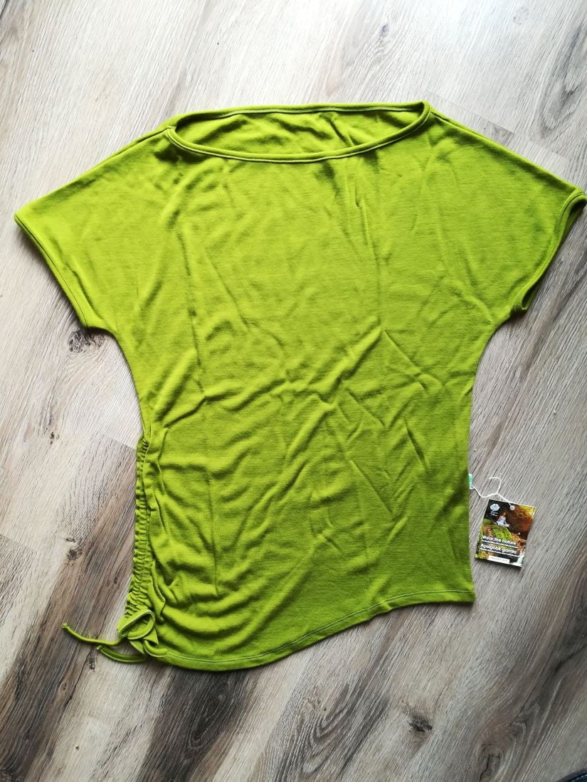 Tricou cu reglaj lateral green moss din lana merinos organica Green Rose