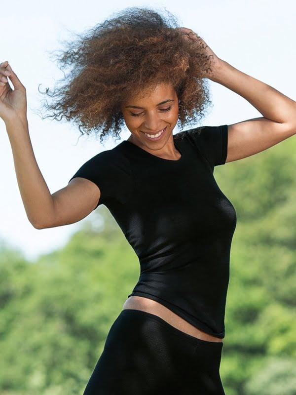 Tricou negru din lână merinos şi mătase organică pentru femei - Engel 2