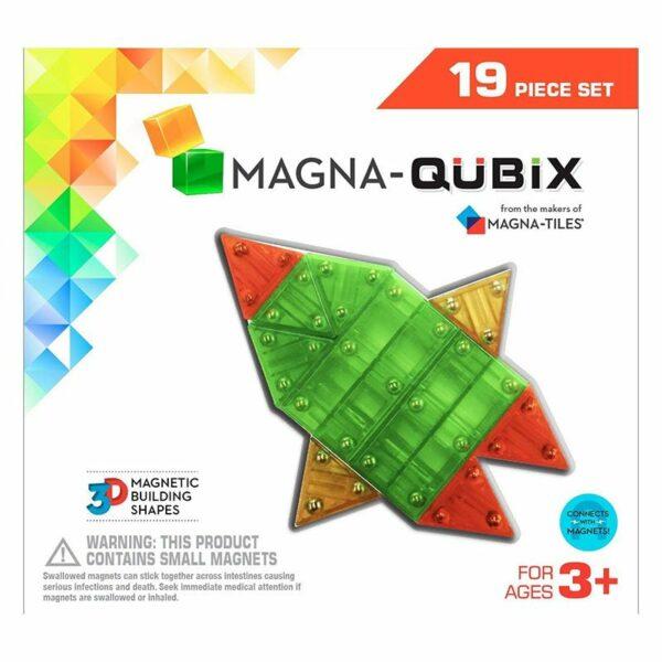 Magna-Qubix Set 19 piese magnetice de constructie transparente colorate