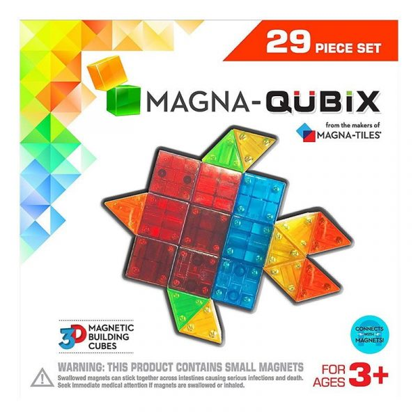 Magna-Qubix Set 29 piese magnetice de constructie transparente colorate