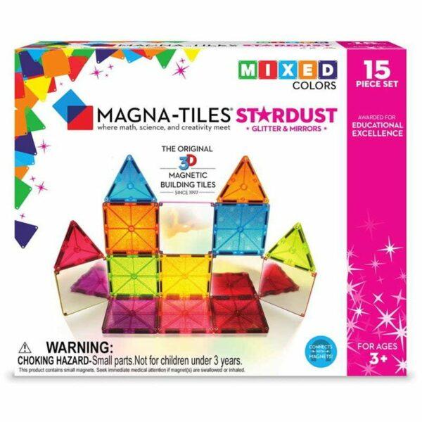 Magna-Tiles Set 15 piese magnetice de constructie colorate cu sclipici si oglinzi Stardust