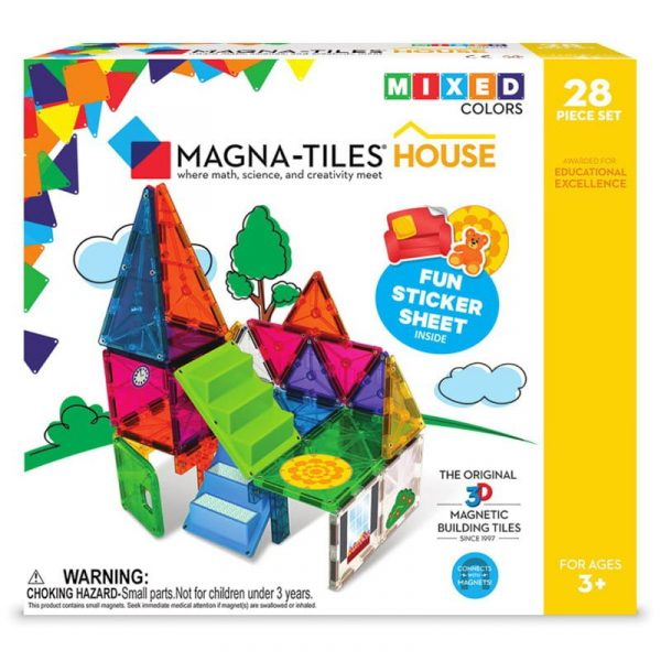 Magna-Tiles Set 30 piese magnetice de constructie colorate cu autocolante House