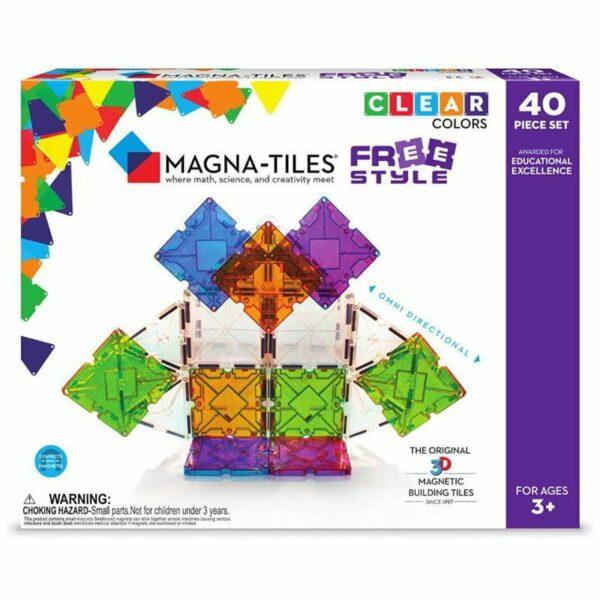 Magna-Tiles Set 40 piese magnetice de constructie colorate cu magneti mobili Freestyle