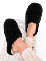 Papuci de casa lana cu talpa aniderapanta black Comfy Alwero