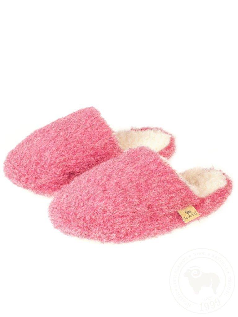 Papuci de casa lana cu talpa aniderapanta pink Comfy Alwero