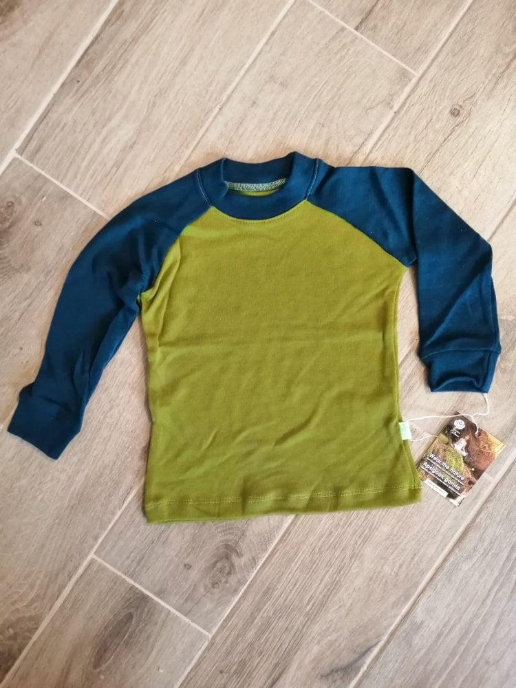 Bluza cu maneca lunga green moss - petrol blue din lana merinos organica pentru copii Green Rose