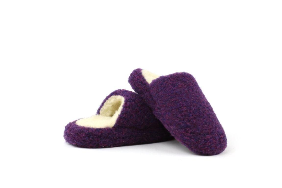 Papuci de casă lână cu talpă antiderapantă violet Comfy Alwero