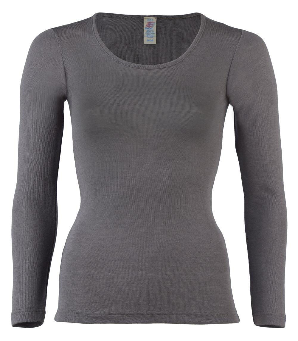 Bluza maneca lunga taupe din lana merinos si matase organica pentru femei - Engel