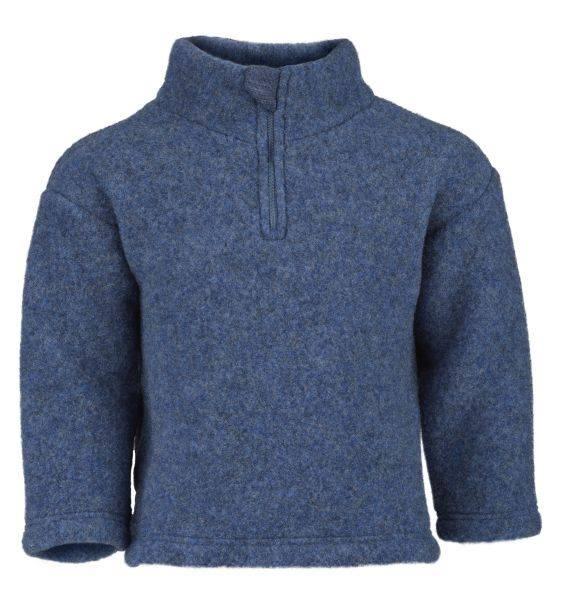 Pulover cu fermoar blue melange din lână merinos organică fleece pentru copii - Engel